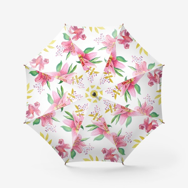Зонт «Узор с розовыми лилиями и золотой веточкой»