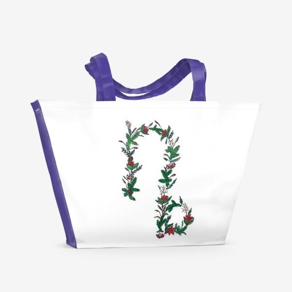 Пляжная сумка «Козерог. Цветы»