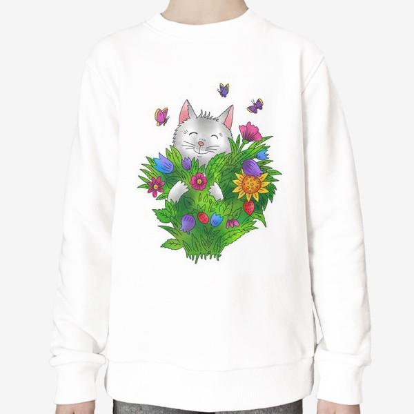 Свитшот «Белый кот с цветами»