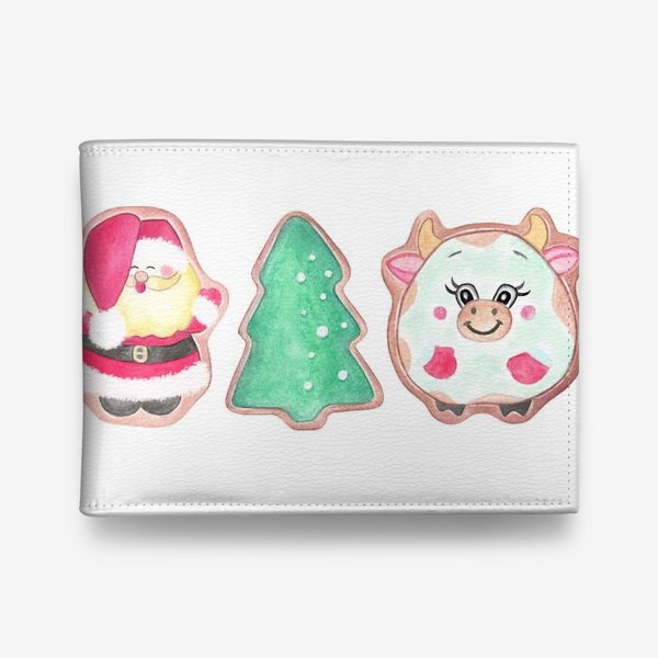 Кошелек «Новогодний принт. Дед Мороз, Елочка, Бычок»