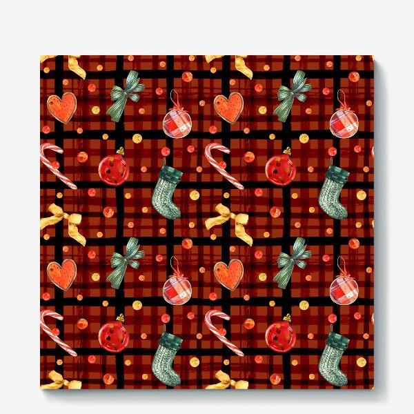 Холст «Новогодний акварельный паттерн на фоне с красной клеткой»