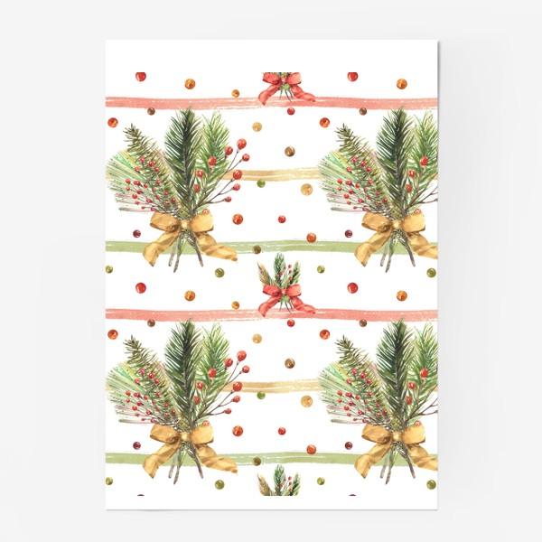 Постер «Новогодний акварельный паттерн на полосатом фоне»