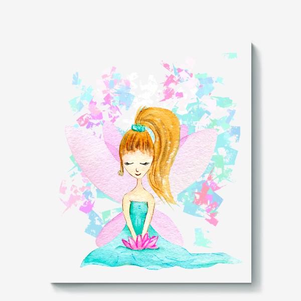 Холст «Акварельная цветочная фея. »