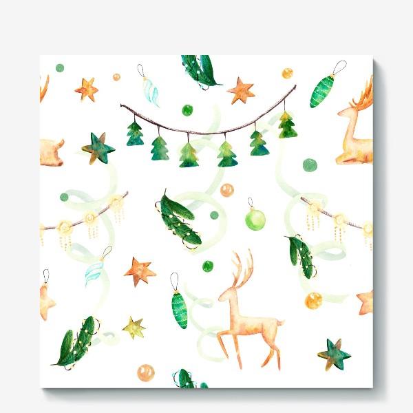 Холст «Новогодний паттерн с оленями,ёлочными игрушками и гирляндами.»