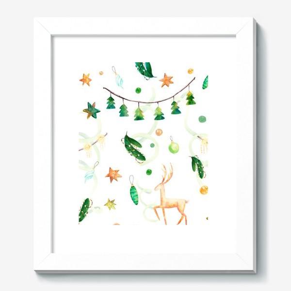 Картина «Новогодний паттерн с оленями,ёлочными игрушками и гирляндами.»