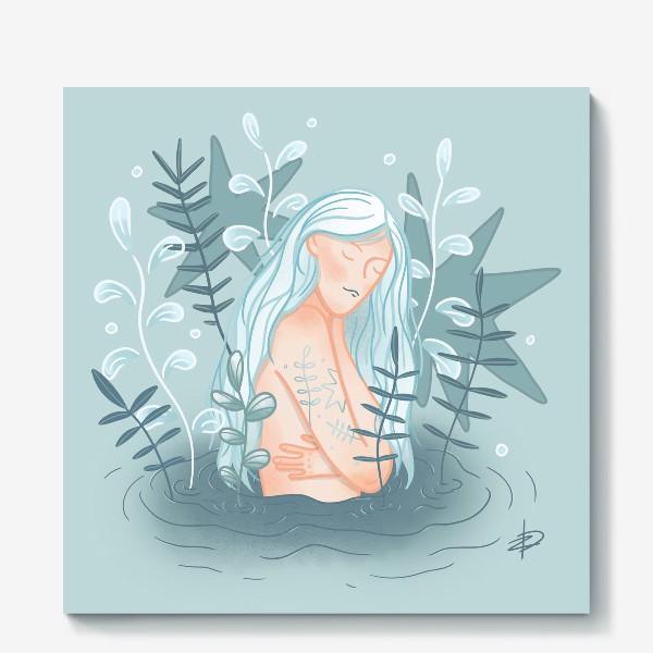 Холст «Девушка в реке с длинными светлыми волосами»