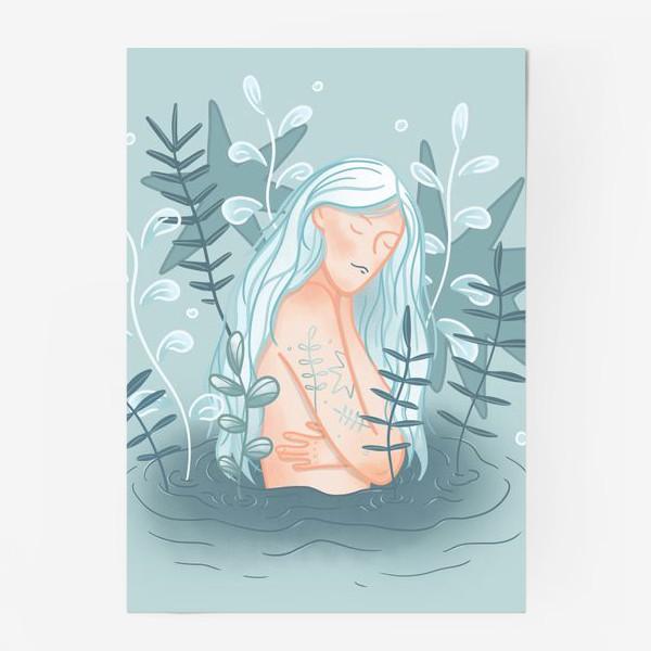 Постер «Девушка в реке с длинными светлыми волосами»