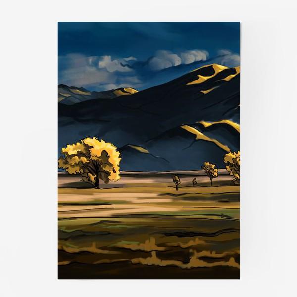 Постер «Пейзаж с полем деревьями, горами и облаками»
