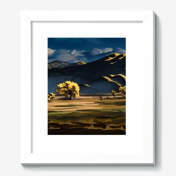 Картина «Пейзаж с полем деревьями, горами и облаками»