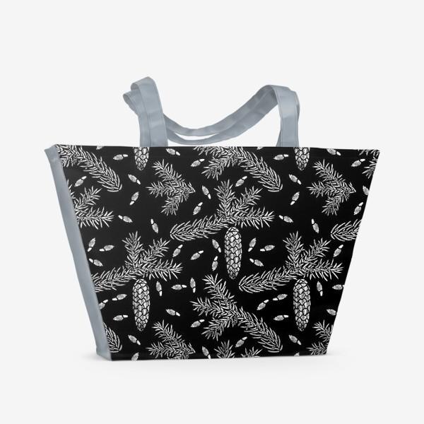 Пляжная сумка «Ель в технике линогравюра-2»