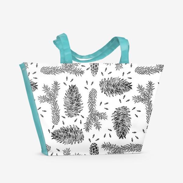 Пляжная сумка «Ель в технике линогравюра-3»