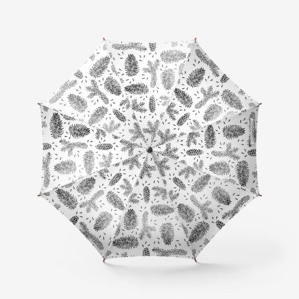Зонт «Ель в технике линогравюра-3»