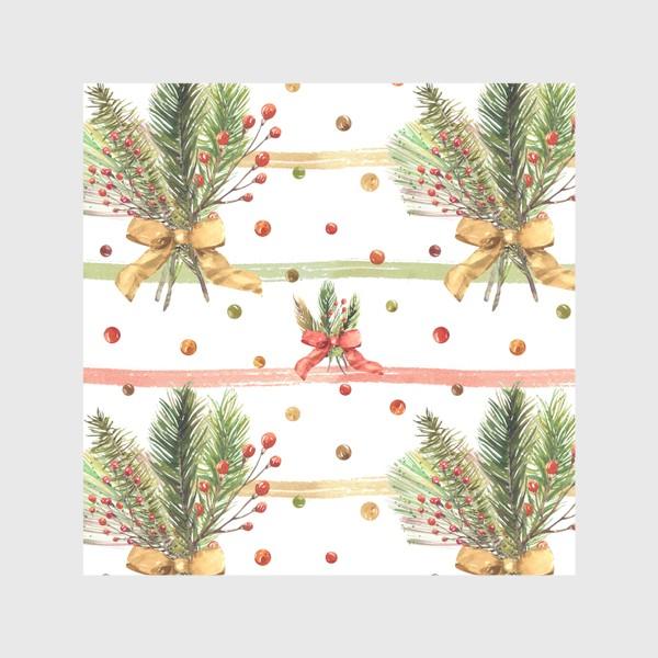 Скатерть «Новогодний акварельный паттерн на полосатом фоне»