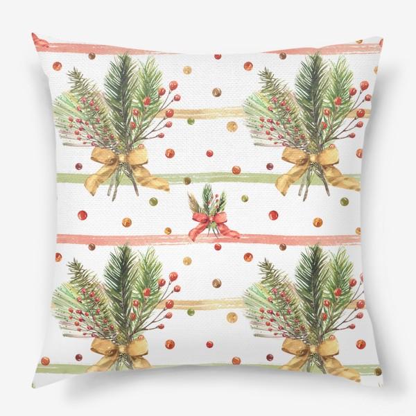 Подушка «Новогодний акварельный паттерн на полосатом фоне»