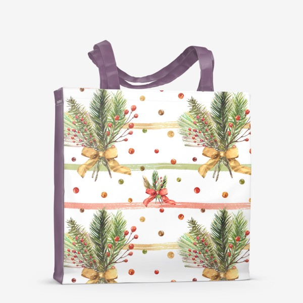 Сумка-шоппер «Новогодний акварельный паттерн на полосатом фоне»