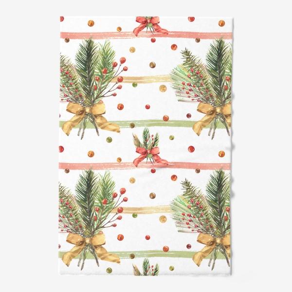 Полотенце «Новогодний акварельный паттерн на полосатом фоне»