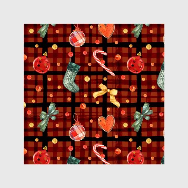 Шторы «Новогодний акварельный паттерн на фоне с красной клеткой»