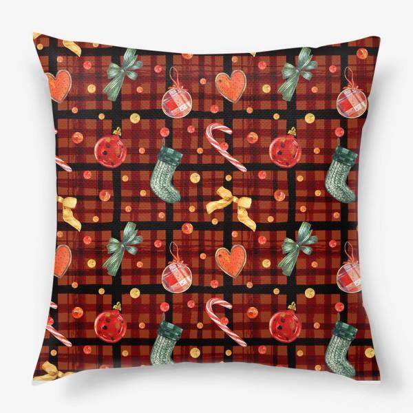 Подушка «Новогодний акварельный паттерн на фоне с красной клеткой»