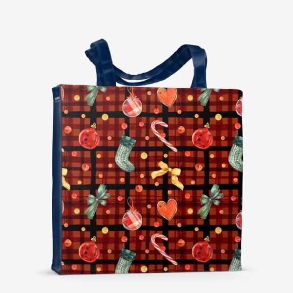 Сумка-шоппер «Новогодний акварельный паттерн на фоне с красной клеткой»
