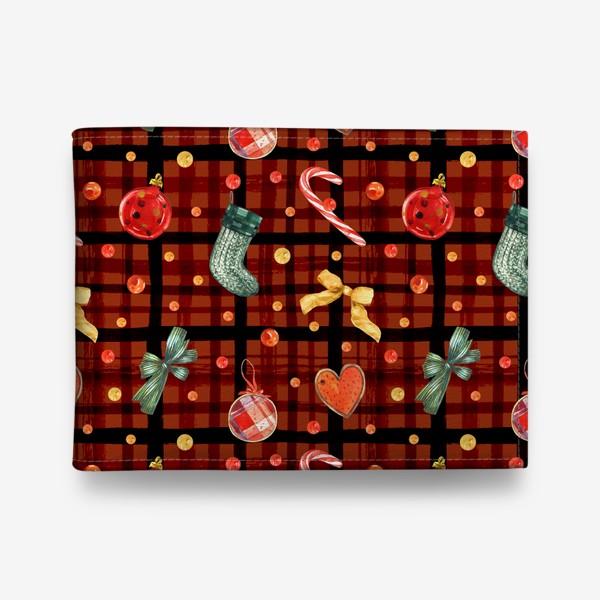 Кошелек «Новогодний акварельный паттерн на фоне с красной клеткой»