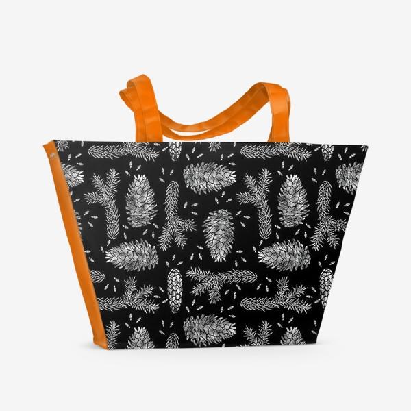Пляжная сумка «Ель в технике линогравюра-4»