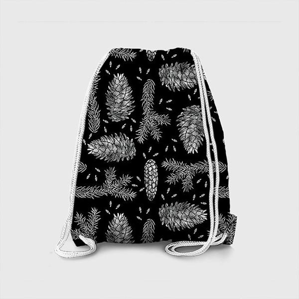 Рюкзак «Ель в технике линогравюра-4»
