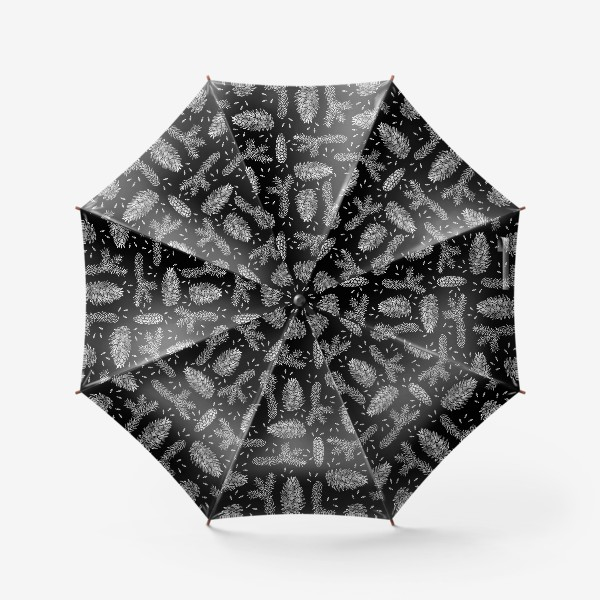 Зонт «Ель в технике линогравюра-4»