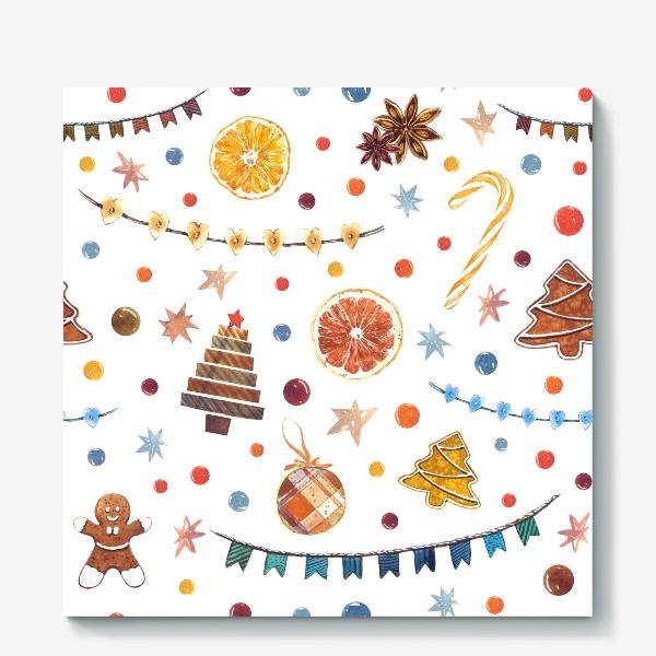 Холст «Новогодний акварельный паттерн на белом фоне с печеньями и пряниками»
