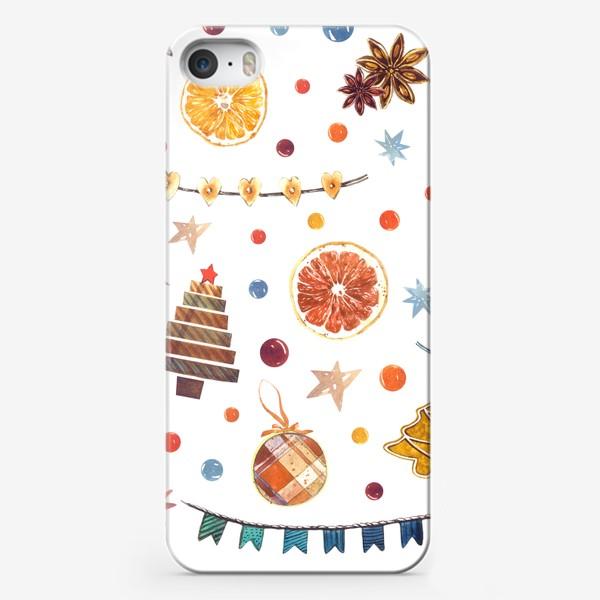 Чехол iPhone «Новогодний акварельный паттерн на белом фоне с печеньями и пряниками»