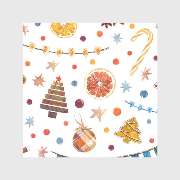 Скатерть «Новогодний акварельный паттерн на белом фоне с печеньями и пряниками»