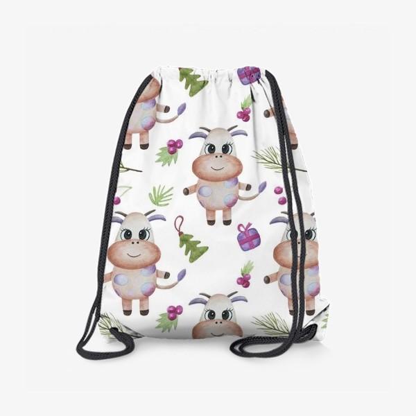 Рюкзак «Новогодние бычки на белом фоне»