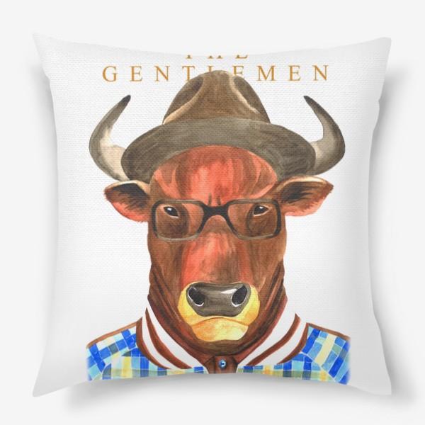 Подушка «Джентельмены. Тренер. Символ года - бык.»
