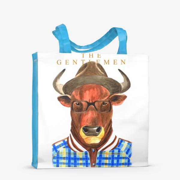 Сумка-шоппер «Джентельмены. Тренер. Символ года - бык.»