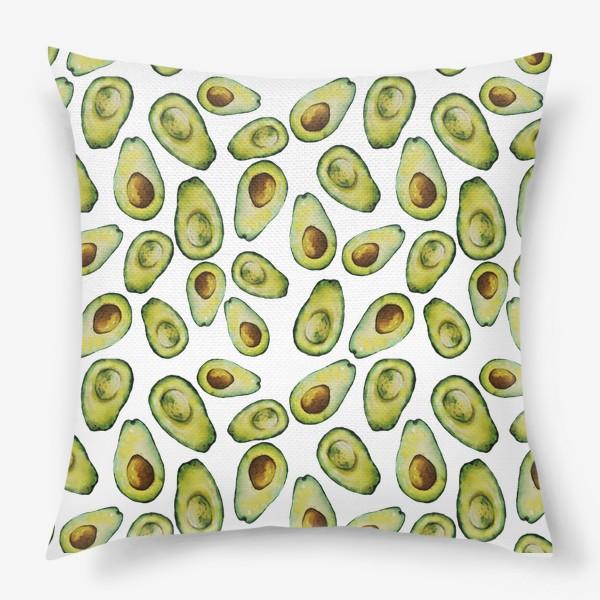 Подушка «Акварельные авокадо»