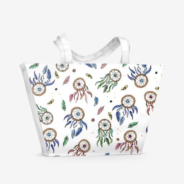 Пляжная сумка «Ловцы снов на белом фоне»