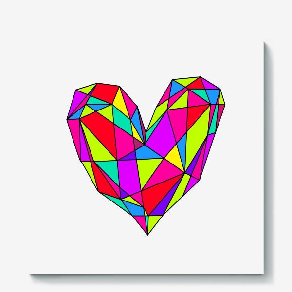 Холст «неоновое сердце»