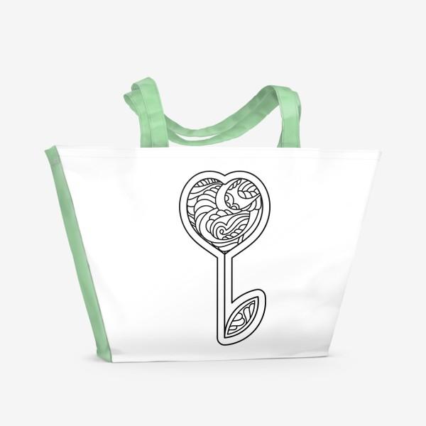 Пляжная сумка «Сердце - цветок»