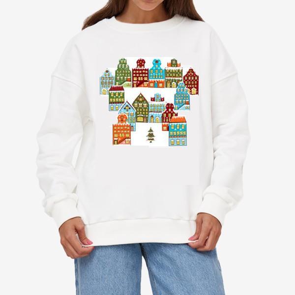 Свитшот «Цветные снежные домики»