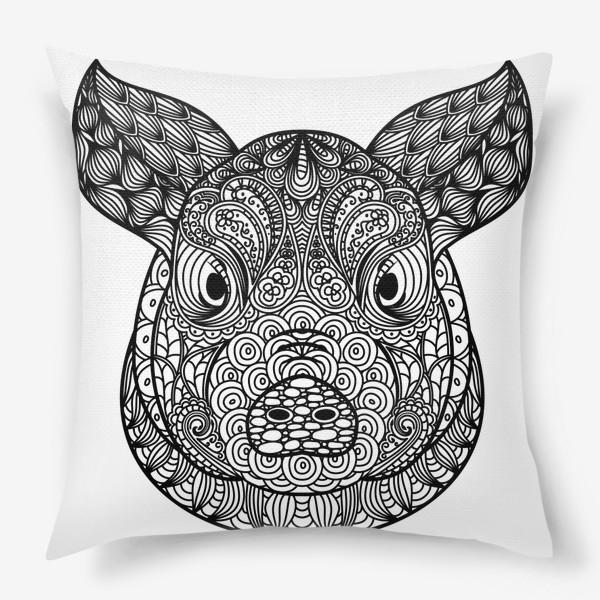 Подушка «Узорчатая голова свиньи. Поросенок с этническим орнаментом. Узор в стиле  дудлинг на морде животного»
