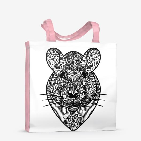 Сумка-шоппер «Узорчатая голова мышки или хомяка . Рисунок крысы с этническим орнаментом. Узор в стиле  дудлинг на мордочке животного»
