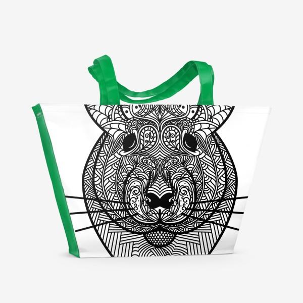 Пляжная сумка «Узорчатая голова мышки или хомяка . Рисунок крысы с этническим орнаментом. Узор в стиле  дудлинг на мордочке животного»