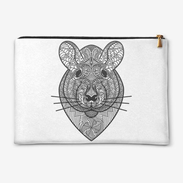 Косметичка «Узорчатая голова мышки или хомяка . Рисунок крысы с этническим орнаментом. Узор в стиле  дудлинг на мордочке животного»