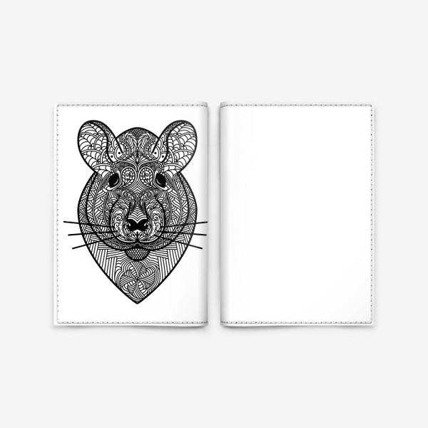Обложка для паспорта «Узорчатая голова мышки или хомяка . Рисунок крысы с этническим орнаментом. Узор в стиле  дудлинг на мордочке животного»