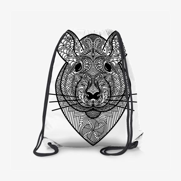 Рюкзак «Узорчатая голова мышки или хомяка . Рисунок крысы с этническим орнаментом. Узор в стиле  дудлинг на мордочке животного»