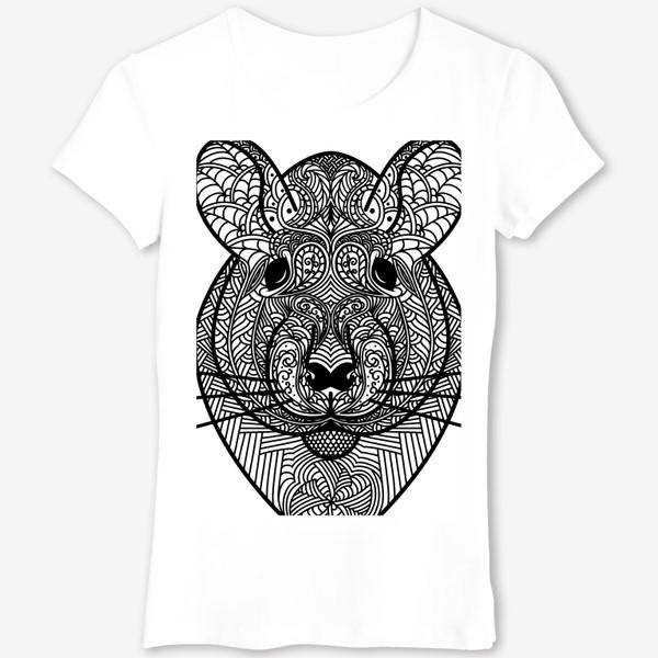 Футболка «Узорчатая голова мышки или хомяка . Рисунок крысы с этническим орнаментом. Узор в стиле  дудлинг на мордочке животного»