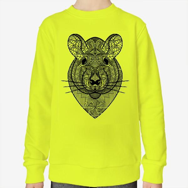 Свитшот «Узорчатая голова мышки или хомяка . Рисунок крысы с этническим орнаментом. Узор в стиле  дудлинг на мордочке животного»