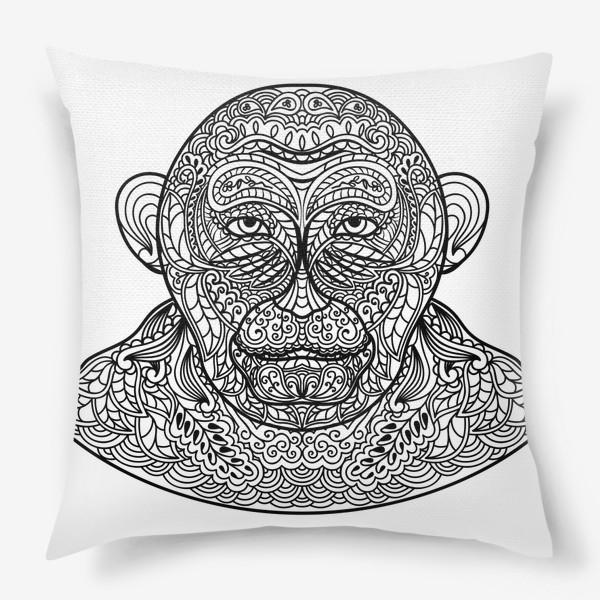 Подушка «Узорчатая голова обезьяны. Рисунок мартышки с этническим орнаментом. Узор в стиле  дудлинг на морде животного»