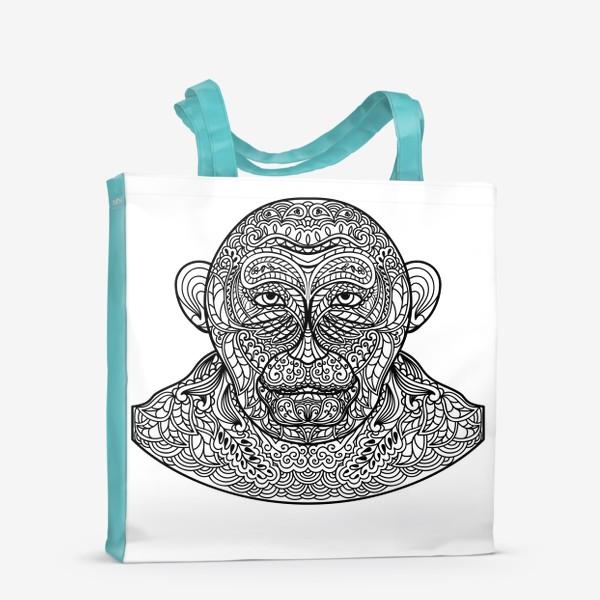 Сумка-шоппер «Узорчатая голова обезьяны. Рисунок мартышки с этническим орнаментом. Узор в стиле  дудлинг на морде животного»