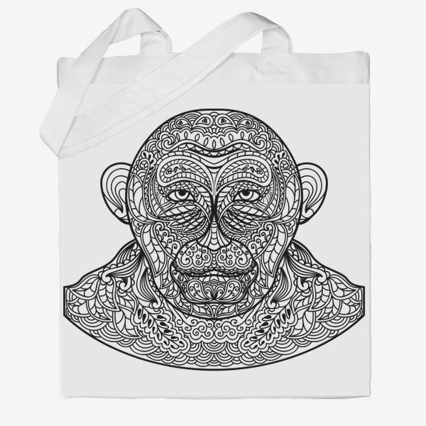 Сумка хб «Узорчатая голова обезьяны. Рисунок мартышки с этническим орнаментом. Узор в стиле  дудлинг на морде животного»