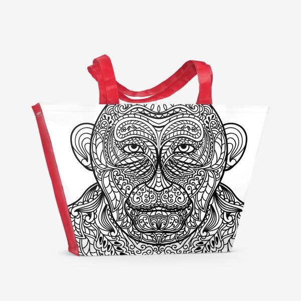 Пляжная сумка «Узорчатая голова обезьяны. Рисунок мартышки с этническим орнаментом. Узор в стиле  дудлинг на морде животного»